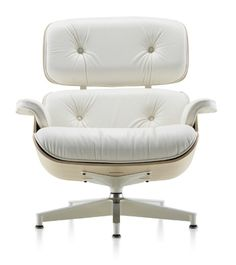 White on white: Eames chair now available in white ash/white leather.