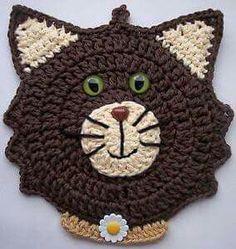 Ideas crochet cat potholder hot pads for 2019 Chat Crochet, Crochet Motif, Crochet Flowers, Crochet Patterns, Crochet Gifts, Crochet Toys, Crochet Baby, Diy Laine, Crochet Hot Pads