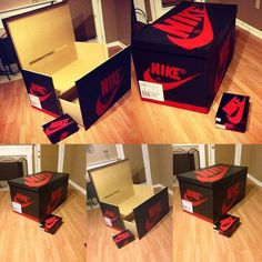 Handmade shoe storage box. It can be designed to replicate any shoe box youd like. (Examples: nike shoe box, jordan shoe box, christian