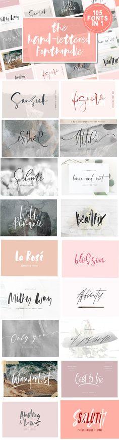 105 Fonts in 1   The Hand-Lettered Fontbundle by Sinikka Li