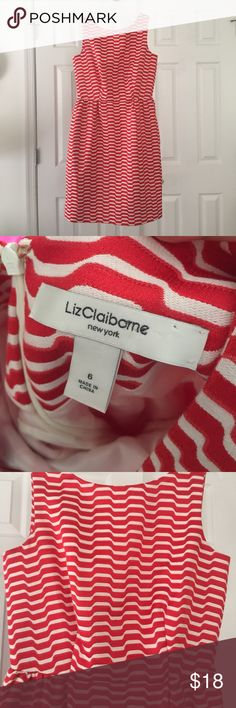 Liz Claiborne dress Orange/Red and white dress, worn once, in great condition. Falls above knee Liz Claiborne Dresses Midi