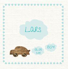 Geboortekaartje   Lars Retro, auto, jongen