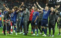 Manchester United's palyers celebarate after victory in the UEFA Europa League final football match Ajax Amsterdam v Manchester United on May 24 2017...