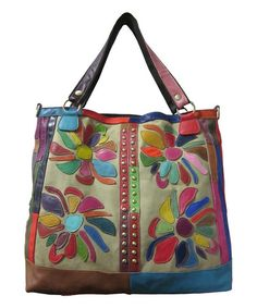 Look what I found on #zulily! Pink Rainbow Rosalie Leather Tote #zulilyfinds
