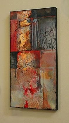 """""""Red Beneath 14023"""" - 36""""x18""""x1.5 Mixed Media on Panel by Carol Nelson (2015)"""