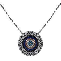 """Ασημένιο κολιέ σε ανθρακί επιμετάλλωση με κρεμαστό μοτίφ """"στόχος"""" με πολύχρωμες πέτρες. Ένα υπέροχο νεανικό και μοντέρνο κόσμημα για εσάς ή για δώρο. Diamond, Silver, Jewelry, Jewlery, Money, Bijoux, Schmuck, Diamonds, Jewelery"""