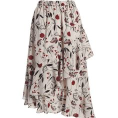 Floral Print Ruffle Hem Asymmetric Skirt (1.320 RUB) ❤ liked on Polyvore featuring skirts, flounce hem skirt, ruffle hem skirt, floral skirts, floral printed skirt and floral print skirt
