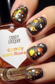 Candy Lacquer Candy Corn Flowers over Manglaze Matte is Murder! Candy Corn, Happy Halloween, My Nails, Flowers, Florals, Flower, Bloemen