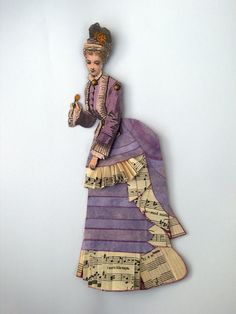 Paper Art Doll,Victorian OOAK Bustle Skirt Vintage Lady Lilac