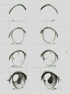 Learn To Draw Manga - Drawing On Demand - Anime / manga eyes step by step – # animemanga - Eye Drawing Tutorials, Drawing Techniques, Drawing Tips, Drawing Reference, Drawing Ideas, Drawing Drawing, Pose Reference, Sketch Ideas, Hair Tutorials