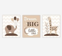 Baby Nursery Wall Art Beige Brown Tan Elephant Giraffe Dream Big Safari Jungle Zoo Animals Baby Nursery Decor SET OF 3 UNFRAMED PRINTS. Baby Nursery Wall Art Beige Brown Tan Elephant Giraffe Dream Big Safari Jungle Zoo Animals Baby Nursery Decor SET OF 3 UNFRAMED PRINTS FRAMES ARE SHOWN FOR DISPLAY PURPOSES ONLY Sizes Available: 5x7 8x10 11x14 If ordering two sizes, center print shown is largest size. #1022.