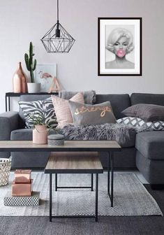 Living Room Grey, Small Living Rooms, Living Room Ideas With Grey Couch, Black White And Grey Living Room, Grey Living Room Ideas Color Schemes, Living Room Modern, Living Room Designs, Cozy Living, Bedroom Modern