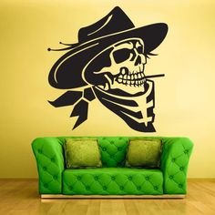 Wall Vinyl Decal Sticker Bedroom Decal Decal Cowboy Skull z439
