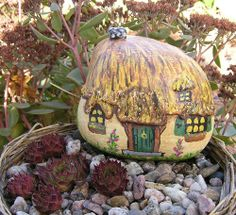 Miniature Stone Cottage Hand Painted Rock Fairy House Breast Cancer