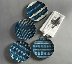 Shibori Melamine Salad Plates, Mixed, Set of 4