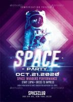 Space Night Party | Futuristic Flyer Template by RomeCreation