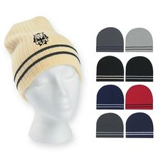 2cfef7e5762 Promotional Ribbed Knit Beanie with Double Stripe