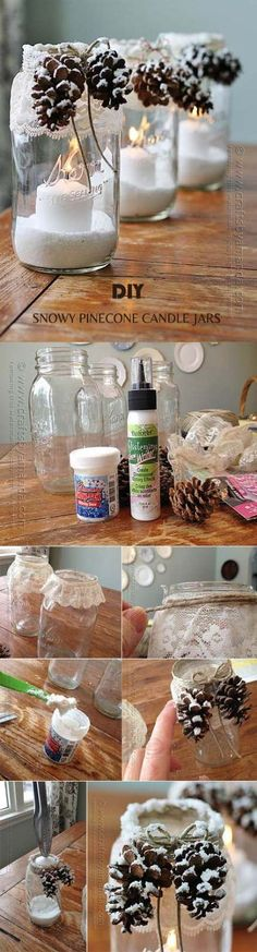 100 DIY Wedding Centerpieces on a Budget creative DIY snowy pinecone candle jars for winter weddings Winter Centerpieces, Wedding Centerpieces, Wedding Decorations, Christmas Decorations, Candle Centerpieces, Diy Candles, Centerpiece Ideas, Christmas Lights, Cheap Candles