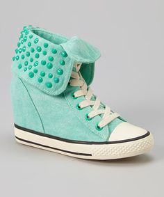 A youthful shoe with commodity Look what I found on #zulily! Mint Cavity Wedge Sneaker #zulilyfinds