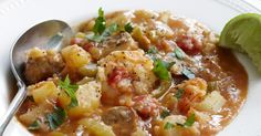 The best Gumbo rice soup recipe you will ever find. Welcome to RecipesPlus, your premier destination for delicious and dreamy food inspiration. Prawn Recipes, Sausage Potatoes, Potato Rice, Peeling Potatoes, Rice Soup, Lime Wedge, Just Cooking, Gumbo