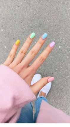 Color For Nails, Love Nails, Different Color Nails, Nails Summer Colors, Cute Nail Colors, Pastel Color Nails, Nail Summer, Cute Nails For Spring, Nail Ideas For Summer