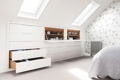 See a range of practical and stylish bedroom storage ideas to keep your bedroom . See a range of practical and stylish bedroom storage ideas to keep your bedroom clutter free Attic Bedroom Storage, Attic Bedroom Designs, Loft Storage, Attic Design, Attic Bathroom, Attic Rooms, Attic Spaces, Bedroom Loft, Small Spaces