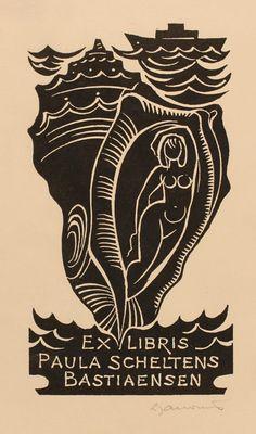 paula Schelten Bastiaensen's bookplate (or ex libris), by Dafiniel Duinea.
