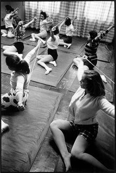 Aerobics class at the Helena Rubinstein Salon. New York, 1958.  By Inge Morath