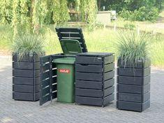 2er Mülltonnenbox aus Holz, für 120 L & 240 L Tonnen, Farbe: Anthrazit