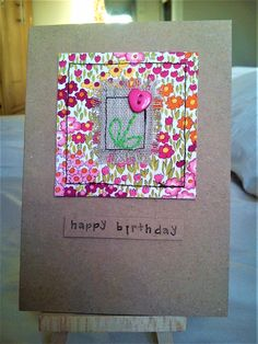 Handmade sewn card made with Moda fabric, linen and a heart button Fabric Postcards, Fabric Cards, Paper Cards, Diy Cards, Embroidery Cards, Free Motion Embroidery, Hand Made Greeting Cards, Making Greeting Cards, Tarjetas Pop Up
