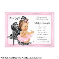 Pink High Heel Shoe Tutu Pearl Baby Shower 5x7 Paper Invitation Card