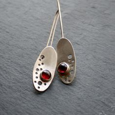 Garnet and Silver Earrings by fugudesigns on Etsy, $48.00
