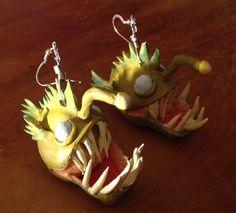 Sculpey angler fish earrings