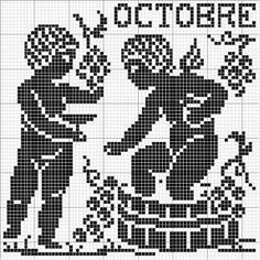 Month 10   Free chart for cross-stitch, filet crochet   Chart for pattern - Gráfico