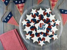 Patriotic Starburst Cookie Platter by Semi Sweet Designs