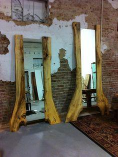 Items similar to Beech Wood Slab Standing Tree Mirror on Etsy Rustic Mirrors, Wood Mirror, Diy Mirror, Live Edge Furniture, Log Furniture, Natural Wood Furniture, Rustic Wood, Rustic Decor, Live Edge Wood