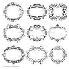 Digital Monogram Wedding Flourish Swirl Clip Art- create Classic Design with these Vintage Vector Frames - FREE Commercial Use 10101 Scrapbook Frames, Scrapbook Embellishments, Vintage Scrapbook, Monogram Frame, Monogram Wedding, Line Artwork, Vintage Borders, Clip Art Pictures, Frame Clipart