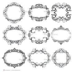Digital Monogram Frames Gorgeous Flourish Swirl Border Digistamp Clipart Flourish Vintage Classic Wedding Designs Victorian Oval Frame 10101
