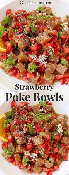 Strawberry Poke Bowls made with Tuna or Marlin dressed in a light orange tamari sesame dressing and fresh strawberry salsa. Perfect for Mother's Day Brunch |  CiaoFlorentina.com @CiaoFlorentina