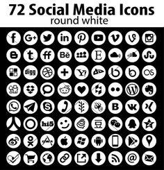 Vector Round Social Media Icons White