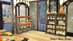 Sims 4 Jacob's Bakery & Pizzeria 麵包店與比薩屋 - Ruby's Home Design The Sims 4 Lots, Anime Scenery, Sims Cc, Bakery, House Design, Shelves, Bff, Furniture, Home Decor