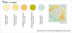 Jan 2015 PTI color recipe 4 - Lemon Tart, Harvest Gold, Summer Sunrise, Simply Chartreuse, Aqua Mist
