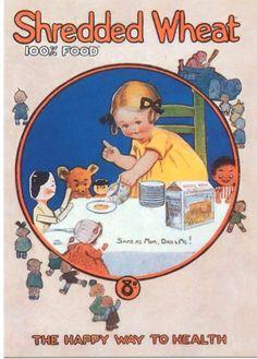 Shredded Wheat by Mabel Lucie Attwell Repro Advertising Postcard Vintage Ads Food, Vintage Labels, Vintage Cards, Vintage Signs, Retro Food, Old Advertisements, Retro Advertising, Retro Ads, Advertising Signs
