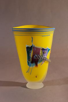 Flat Vessel Yellow with Blue Lip Wrap | James Wilbat Glass Studio