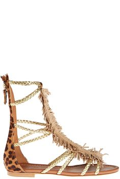 Enjoy 20% off when you donate to Calypso Cares. Fringe gladiator sandal with leopard print back.