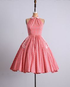 1950's Gingham Halter Dress