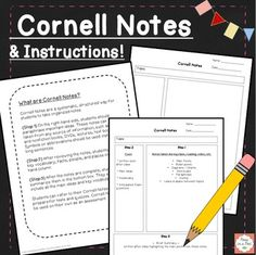 Cornell Notes Template!  Cornell Notes are a systematic, structured way for students to take organized notes. (Step 1) On the right-hand side, students should paraphrase important ideas. These notes can be taken from any source. (paid)