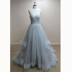 Perfect Grey robe de bal longue Sweetheart  Long Tulle Prom Dress A Line Formal Evening Dresses
