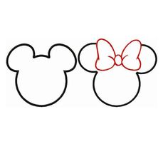Minnie Mouse Outline Party Mickey Template Silhouette