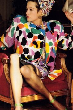 Exceedingly 80's but fun, Denis Piel's photo of Tatiana Patitz wearing Emanuel Ungaro.